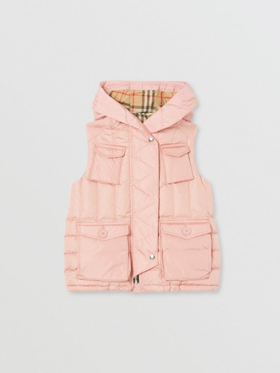 Down-filled Hooded Puffer Gilet in Dusty Pink