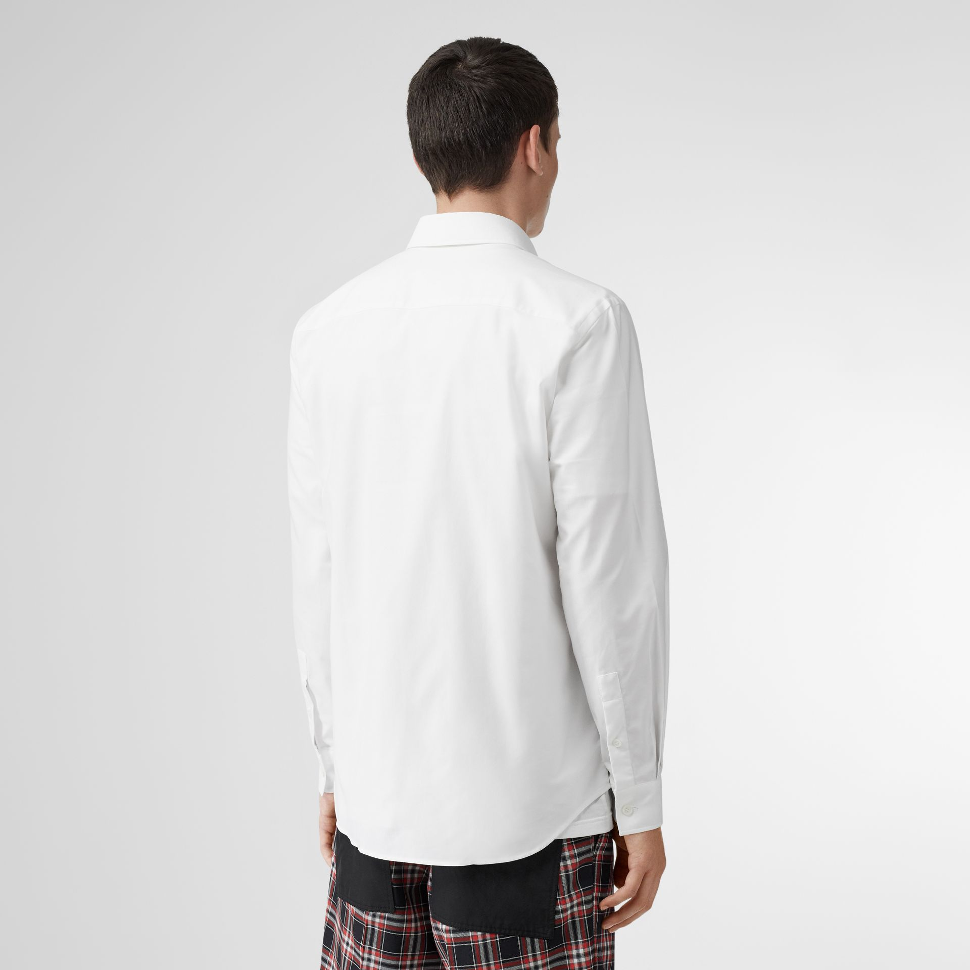 Logo Detail Cotton Oxford Shirt in White - Men | Burberry - gallery image 2