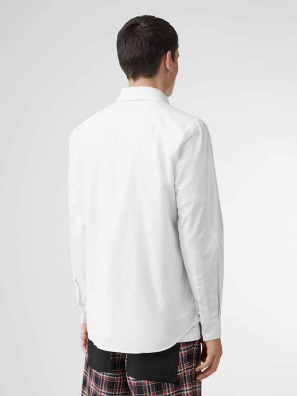 Logo Detail Cotton Oxford Shirt in White - Men | Burberry - cell image 2