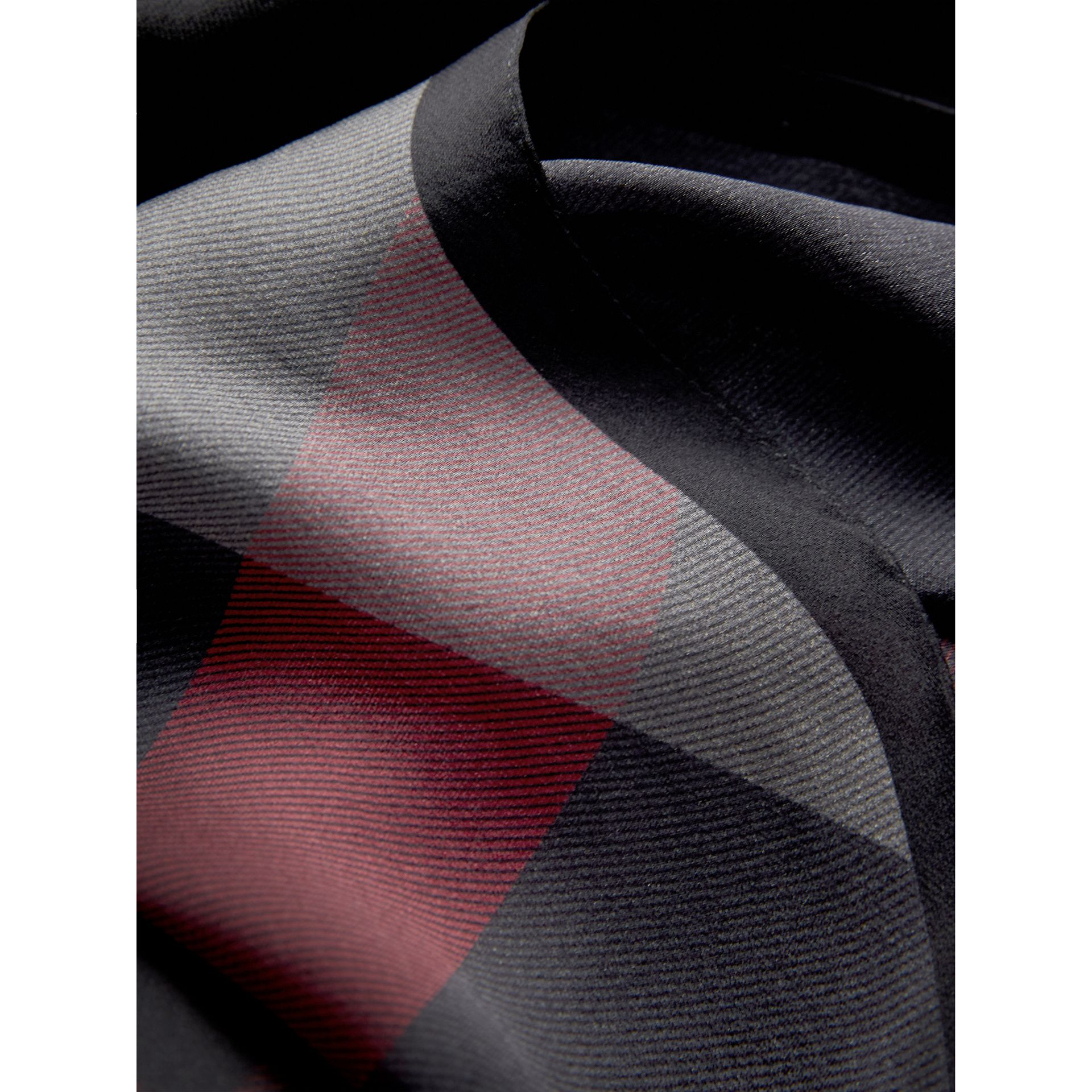 Ombré Washed Check Silk Scarf in Charcoal - Women | Burberry - gallery image 2