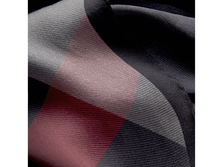 Ombré Washed Check Silk Scarf in Charcoal - Women | Burberry - cell image 1