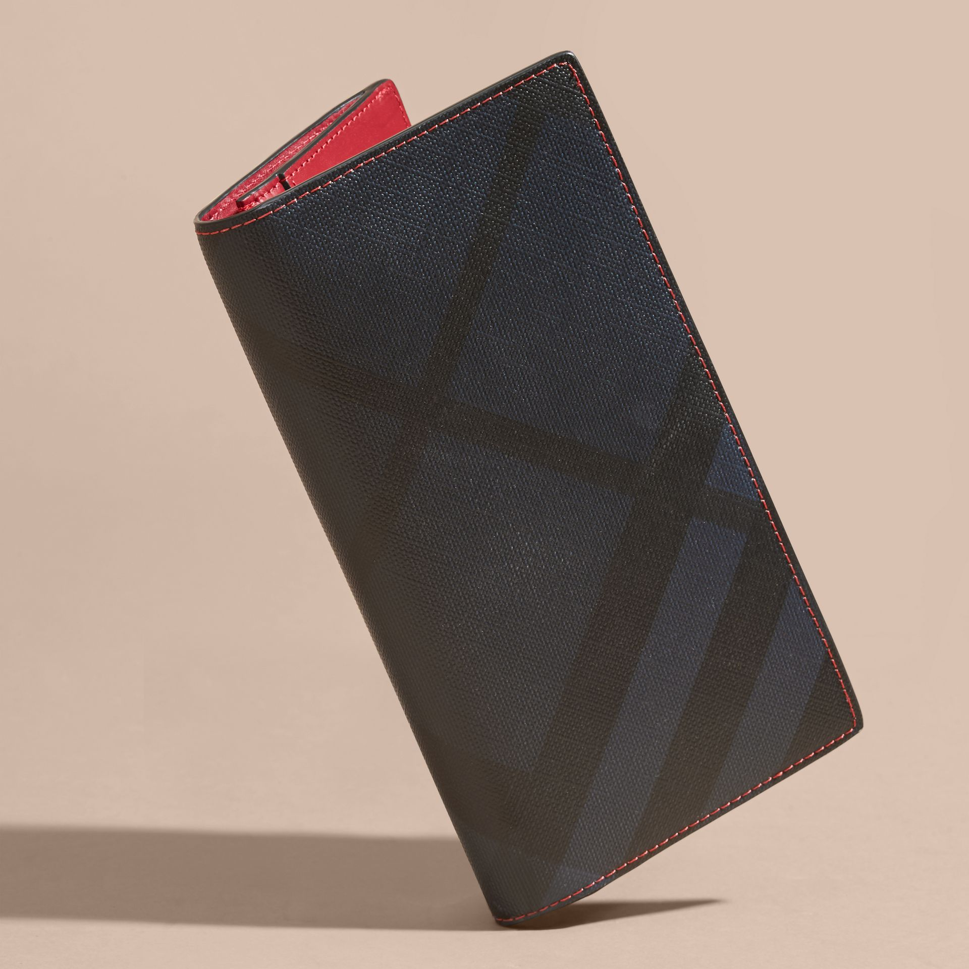 London Check and Leather Continental Wallet Parade Red - gallery image 3