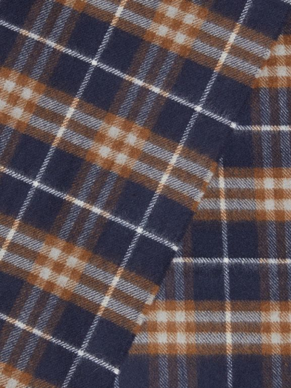 The Classic Vintage Check Cashmere Scarf in Dark Sapphire | Burberry - cell image 1