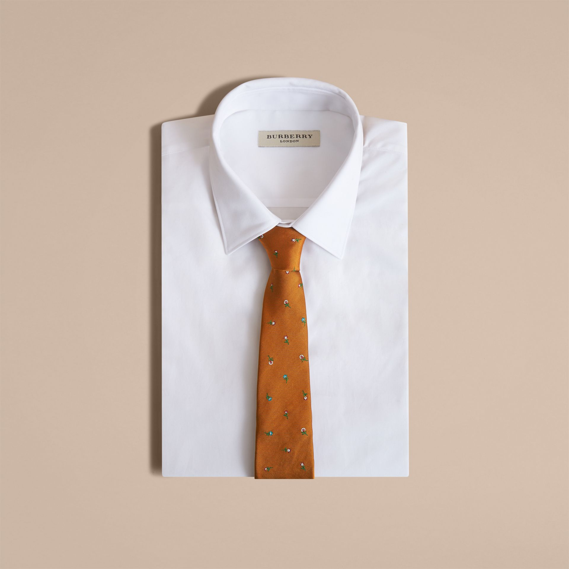 Slim Cut Floral Silk Jacquard Tie in Copper - Men | Burberry - gallery image 4