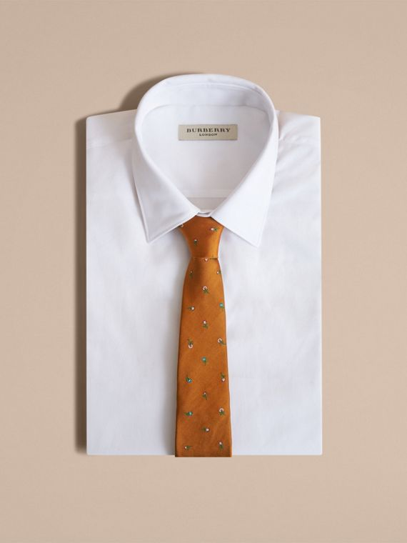 Slim Cut Floral Silk Jacquard Tie in Copper - Men | Burberry - cell image 3