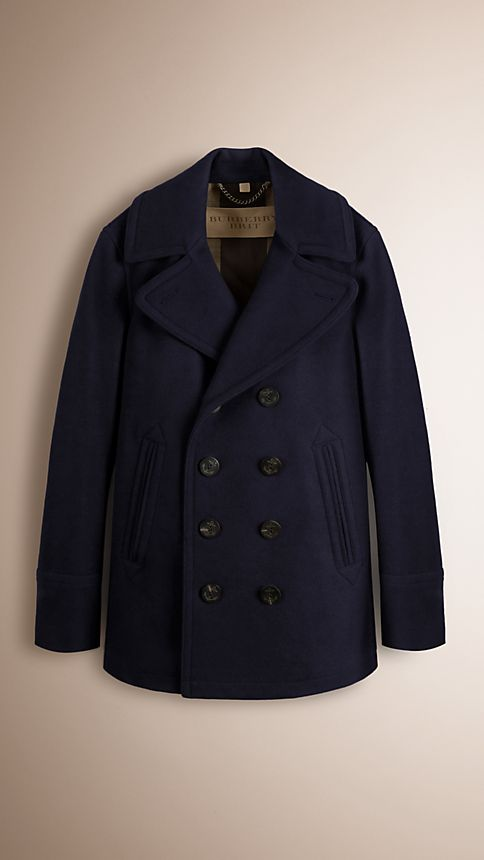 Navy Wool Cashmere Pea Coat - Image 1