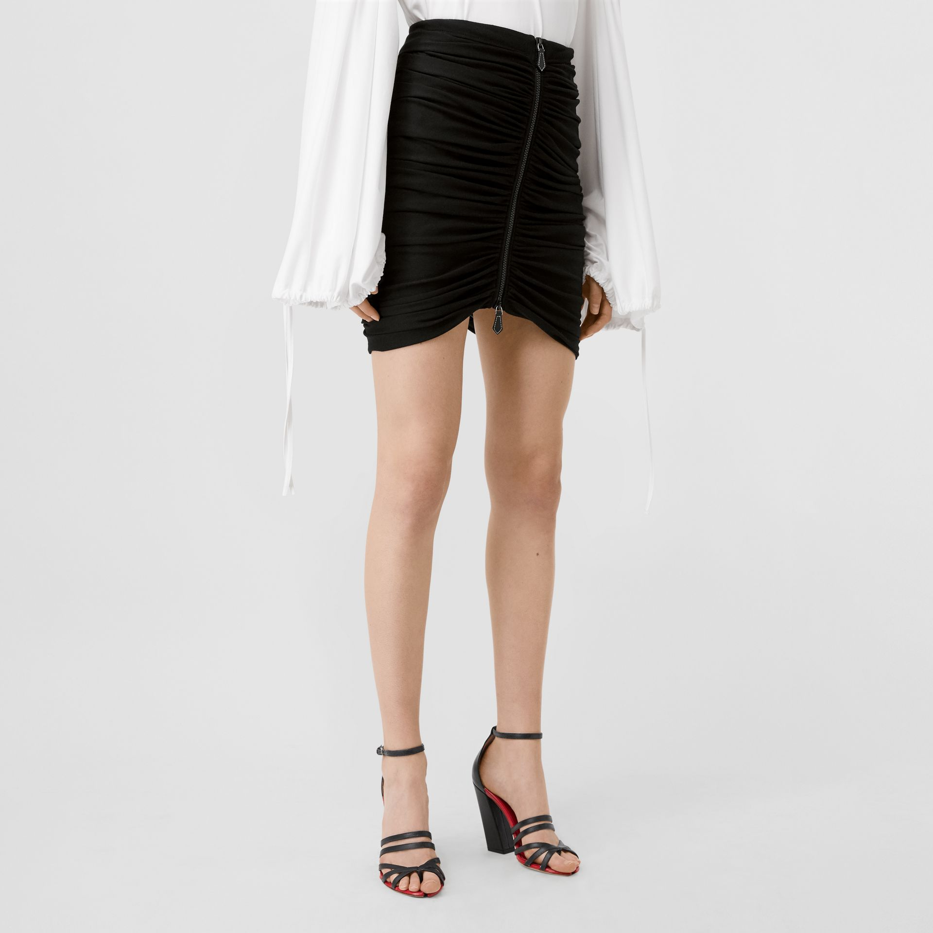 Ruched Jersey Mini Skirt in Black - Women | Burberry - gallery image 4