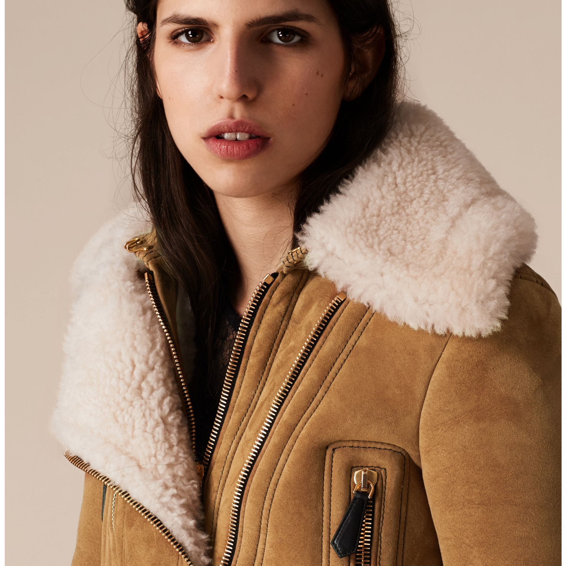 Tan/white Shearling Biker Jacket - gallery image 6