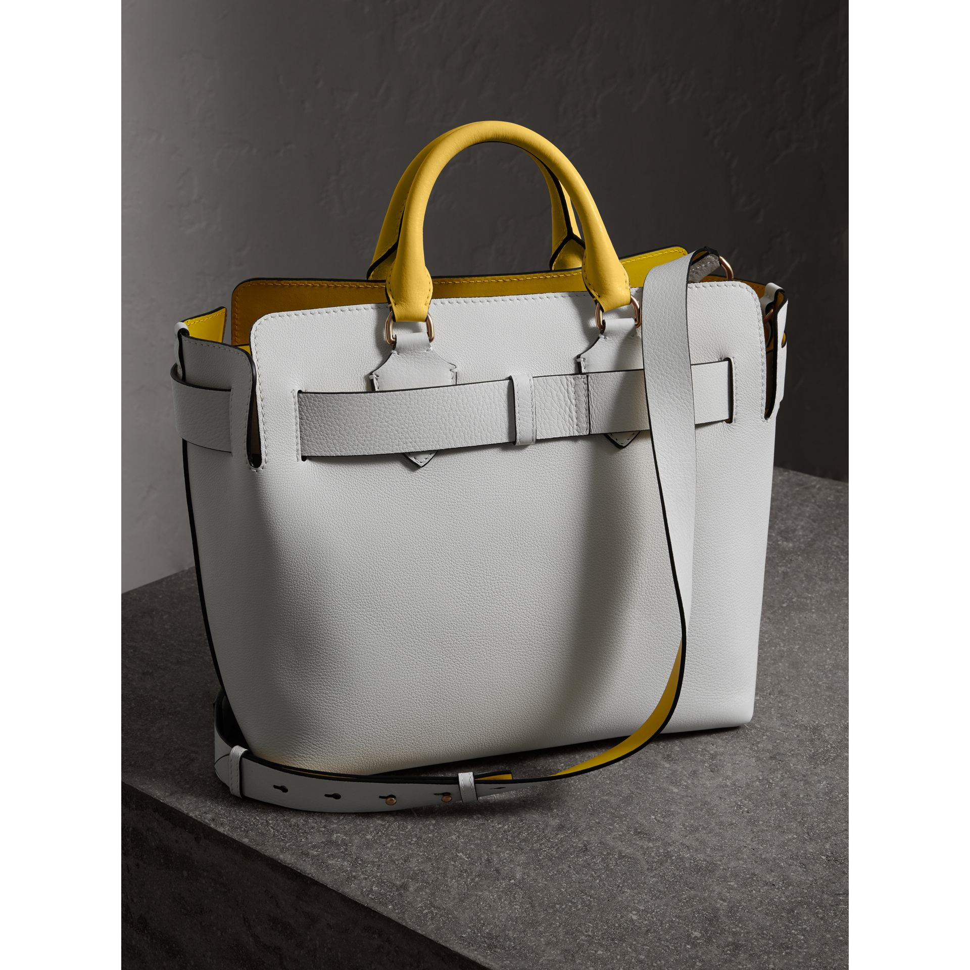 The Medium Leather Belt Bag in Chalk White/yellow - Women | Burberry - gallery image 2