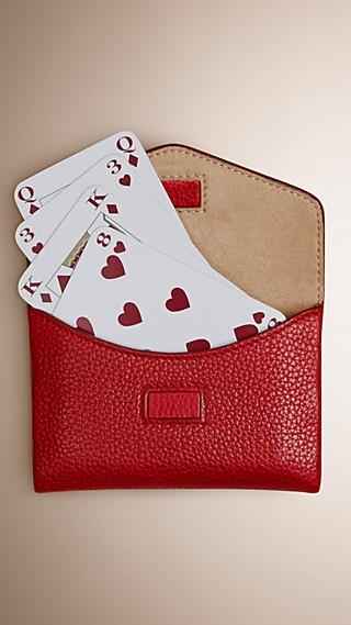 Étui pour jeu de cartes en cuir grainé