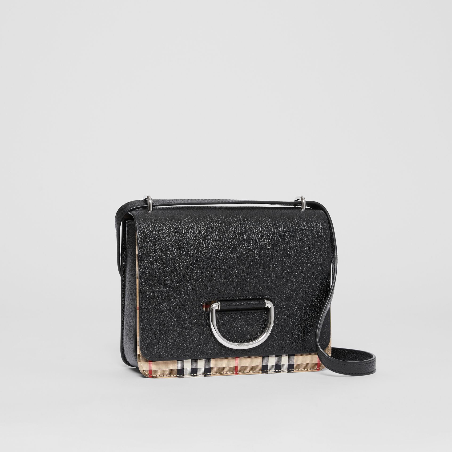 The Small Leather and Vintage Check D-ring Bag in Black - Women | Burberry - gallery image 6