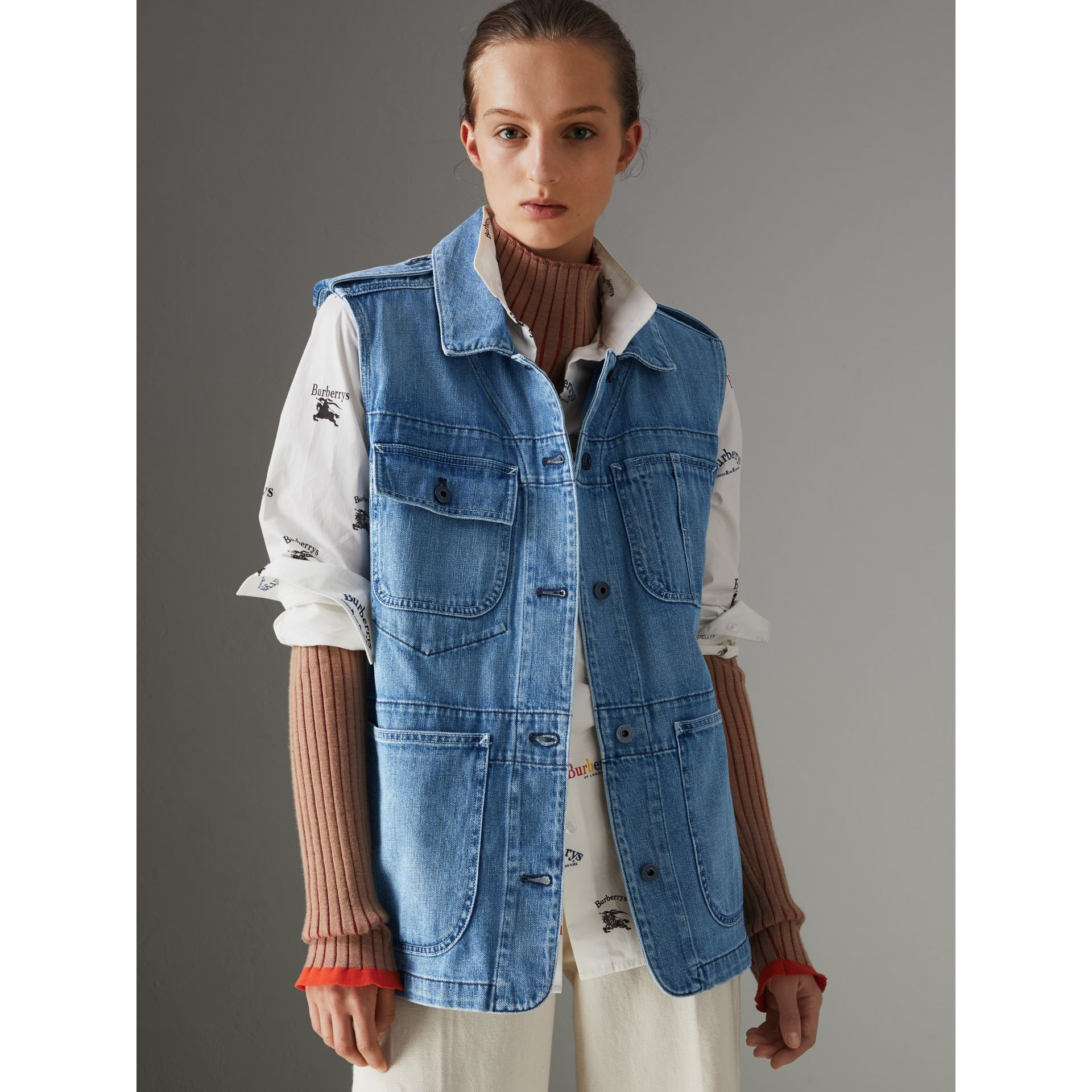 Sleeveless Japanese Denim Jacket in Steel Blue - Women | Burberry - gallery image 4