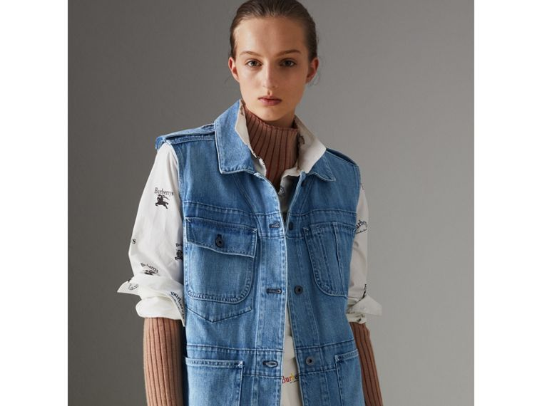 Sleeveless Japanese Denim Jacket in Steel Blue - Women | Burberry - cell image 4