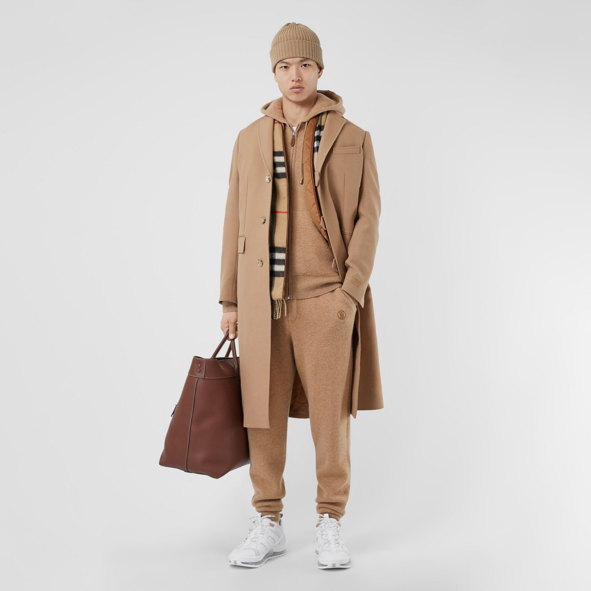 Logo Embroidered Wool Coat in Camel - Men | Burberry Singapore - gallery image 0
