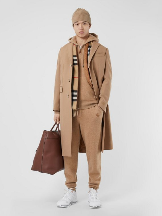 Logo Embroidered Wool Coat in Camel