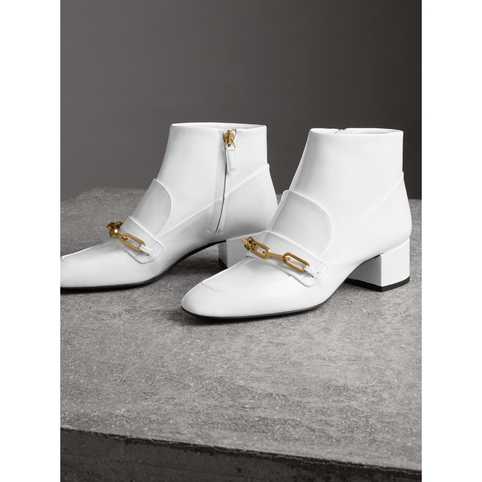 Link Detail Patent Leather Ankle Boots in Optic White - Women | Burberry Australia - gallery image 4