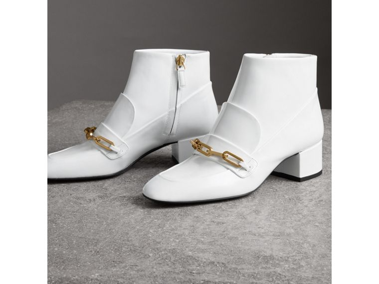 Link Detail Patent Leather Ankle Boots in Optic White - Women | Burberry - cell image 4