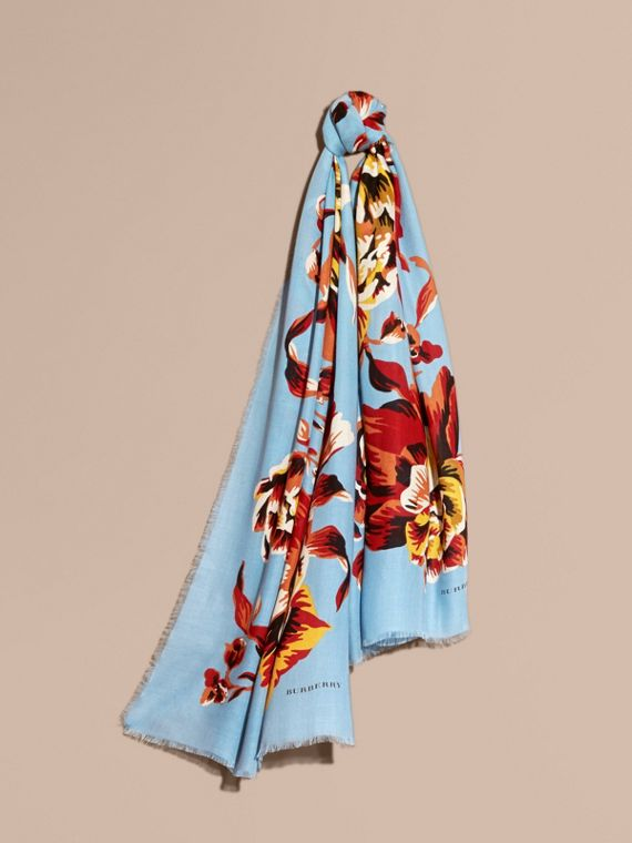 Peony Rose Print Modal and Cashmere Scarf Vibrant Orange