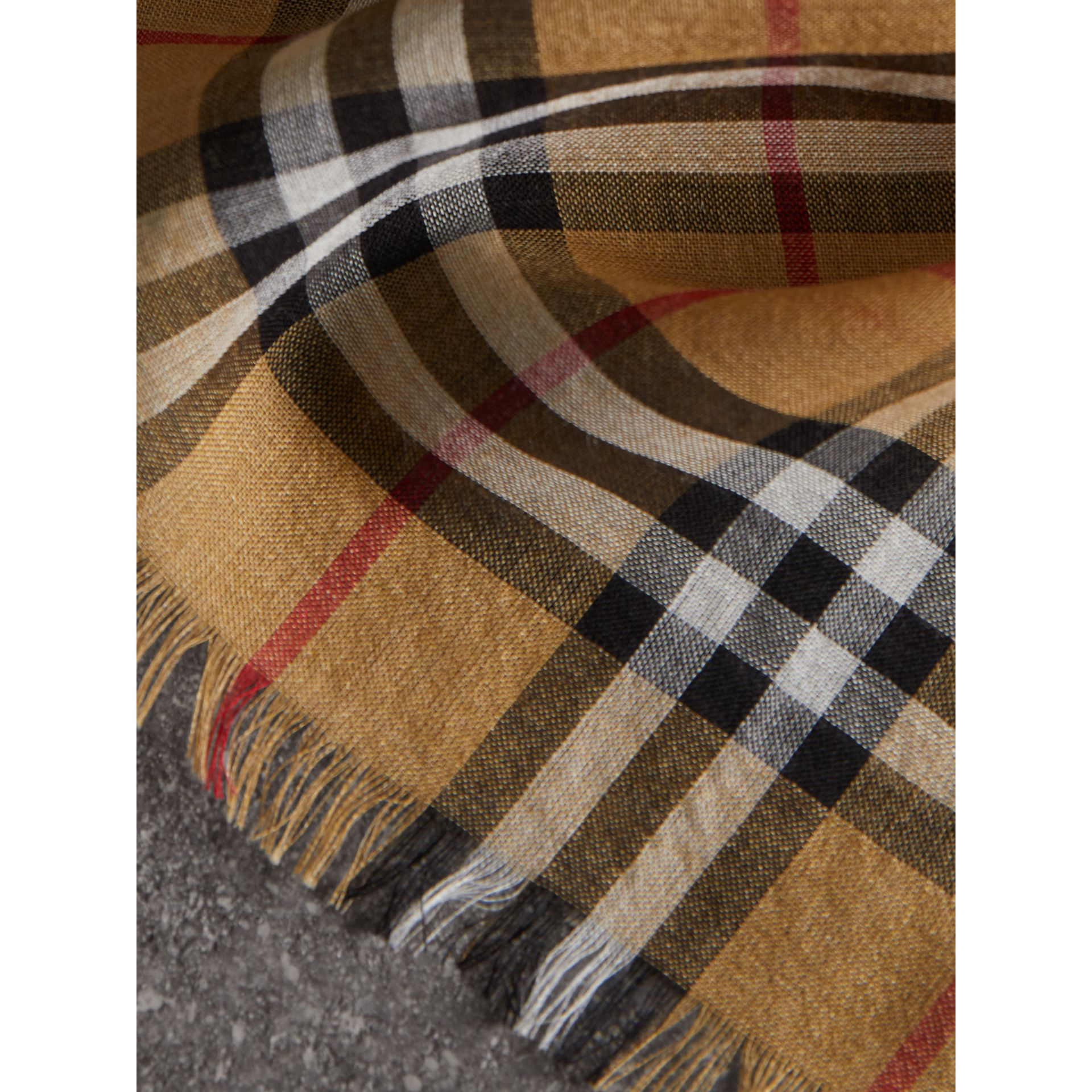 Vintage Check Lightweight Wool Silk Scarf in Antique Yellow | Burberry United Kingdom - gallery image 1