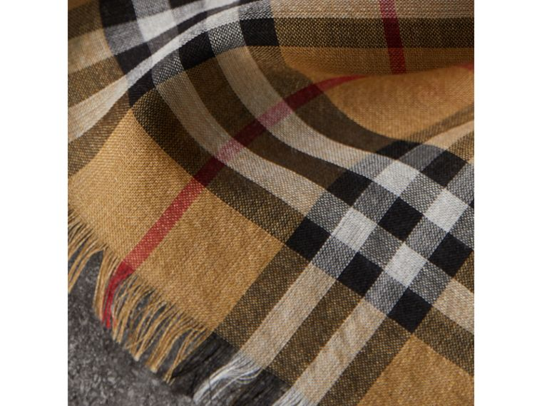 Vintage Check Lightweight Wool Silk Scarf in Antique Yellow | Burberry Hong Kong - cell image 1