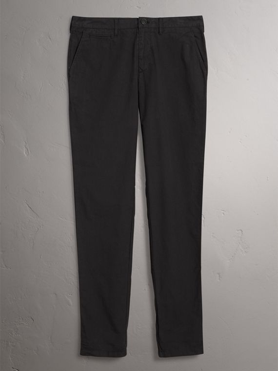 Slim Fit Cotton Poplin Chinos in Black - Men | Burberry Australia - cell image 3