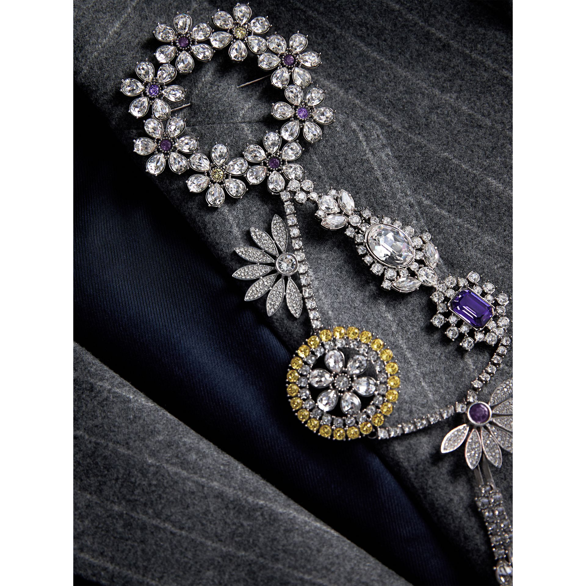 Crystal Daisy Chain Chandelier Brooch in Pale Lavender | Burberry Singapore - gallery image 5
