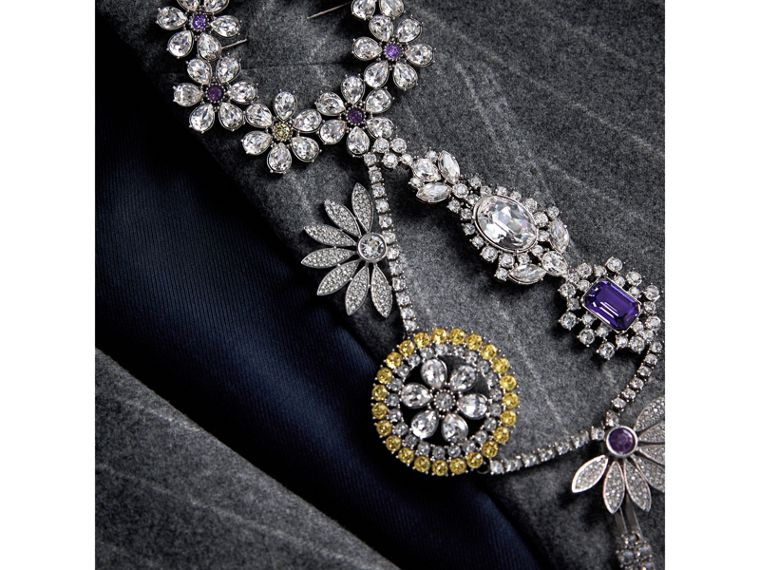 Crystal Daisy Chain Chandelier Brooch in Pale Lavender | Burberry - cell image 4