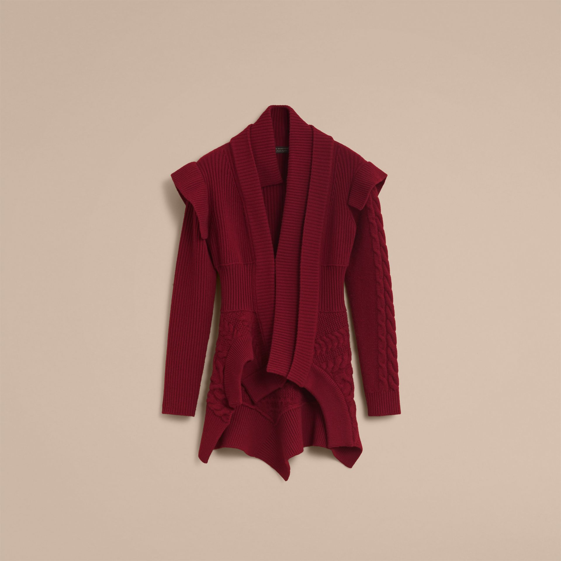 Knitted Wool Cashmere Military-inspired Jacket in Bordeaux - Women | Burberry - gallery image 4
