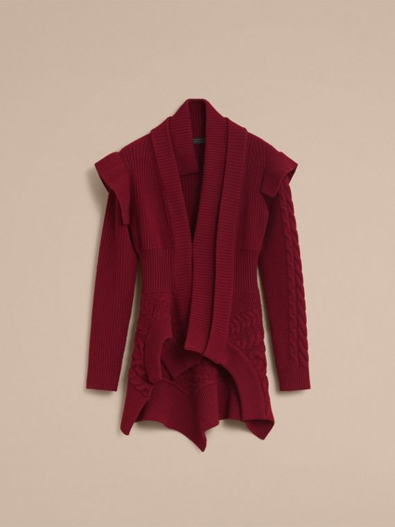 Knitted Wool Cashmere Military-inspired Jacket in Bordeaux - Women | Burberry - cell image 3