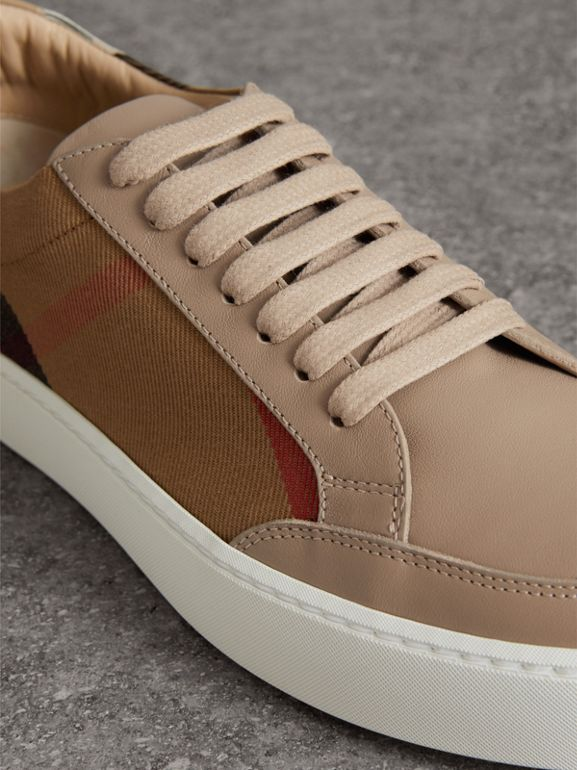 Check Detail Leather Sneakers in House Check/ Nude - Women | Burberry - cell image 1