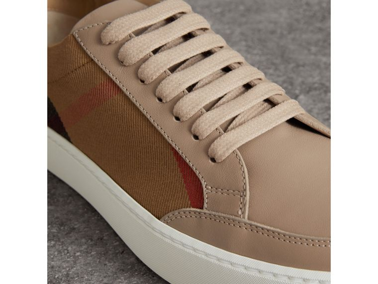 Check Detail Leather Trainers in House Check/ Nude - Women | Burberry Australia - cell image 1