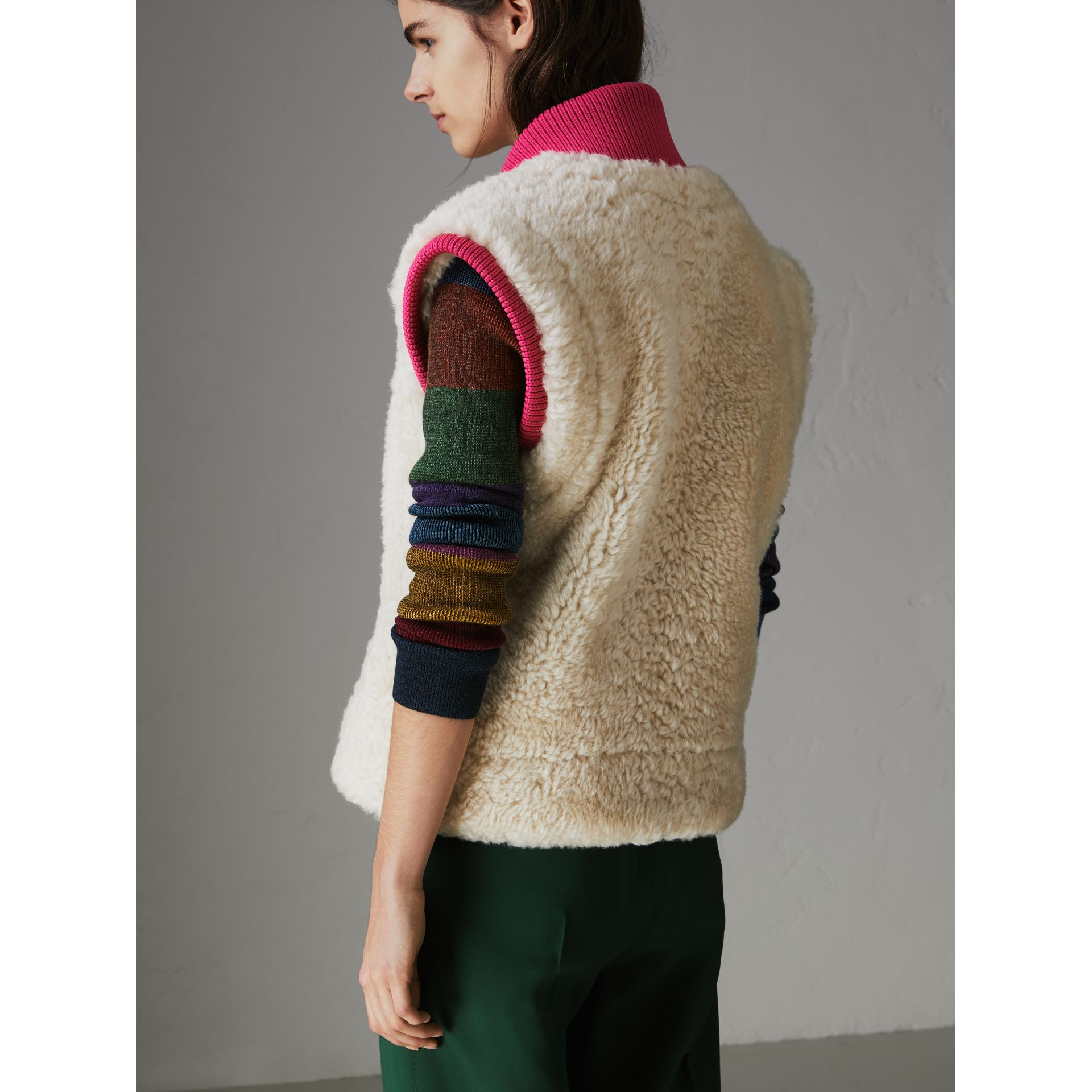 Two-tone Rib Knit Trim Shearling Gilet in Natural White - Women | Burberry - gallery image 2