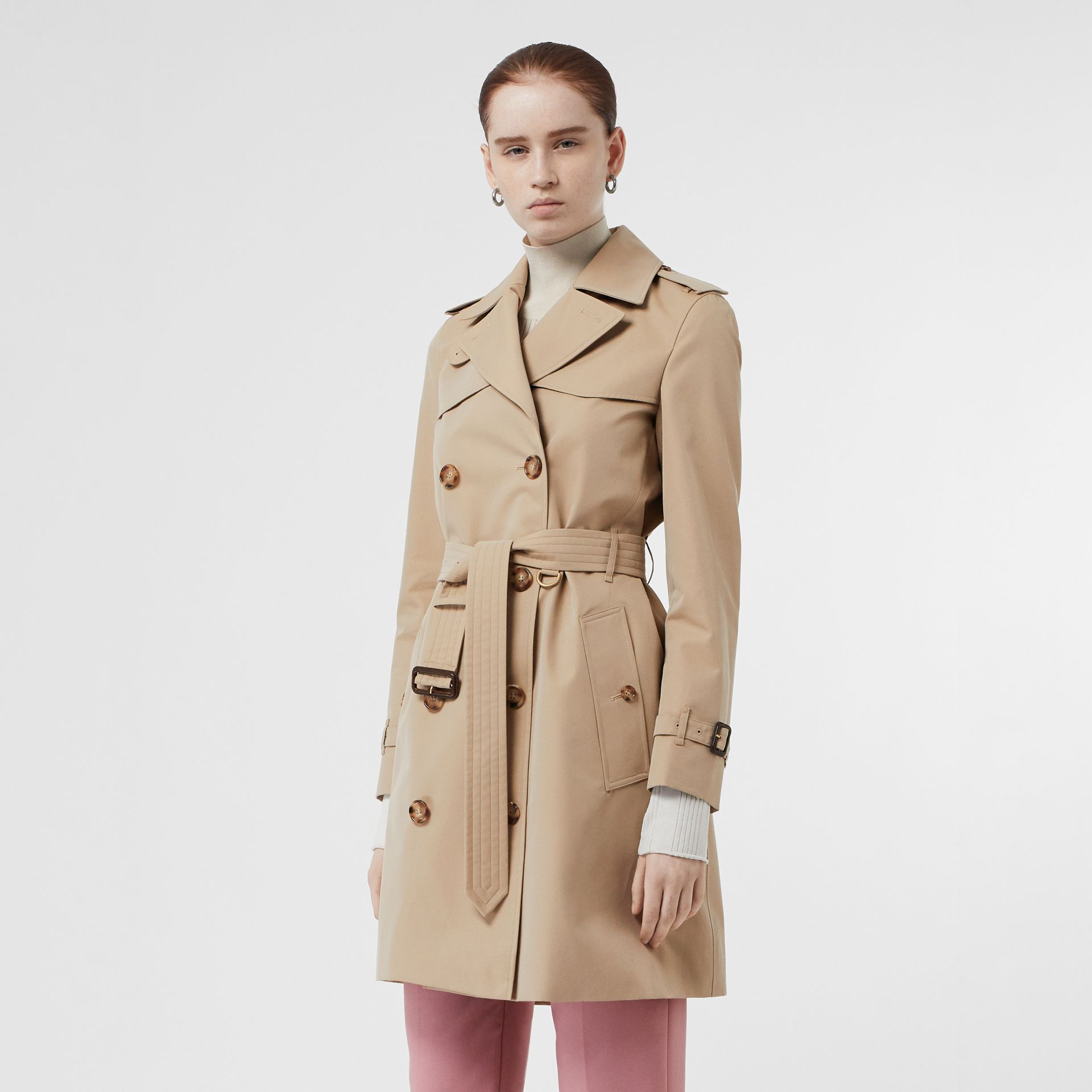 Cotton Gabardine Trench Coat in Honey - Women | Burberry Singapore - gallery image 6