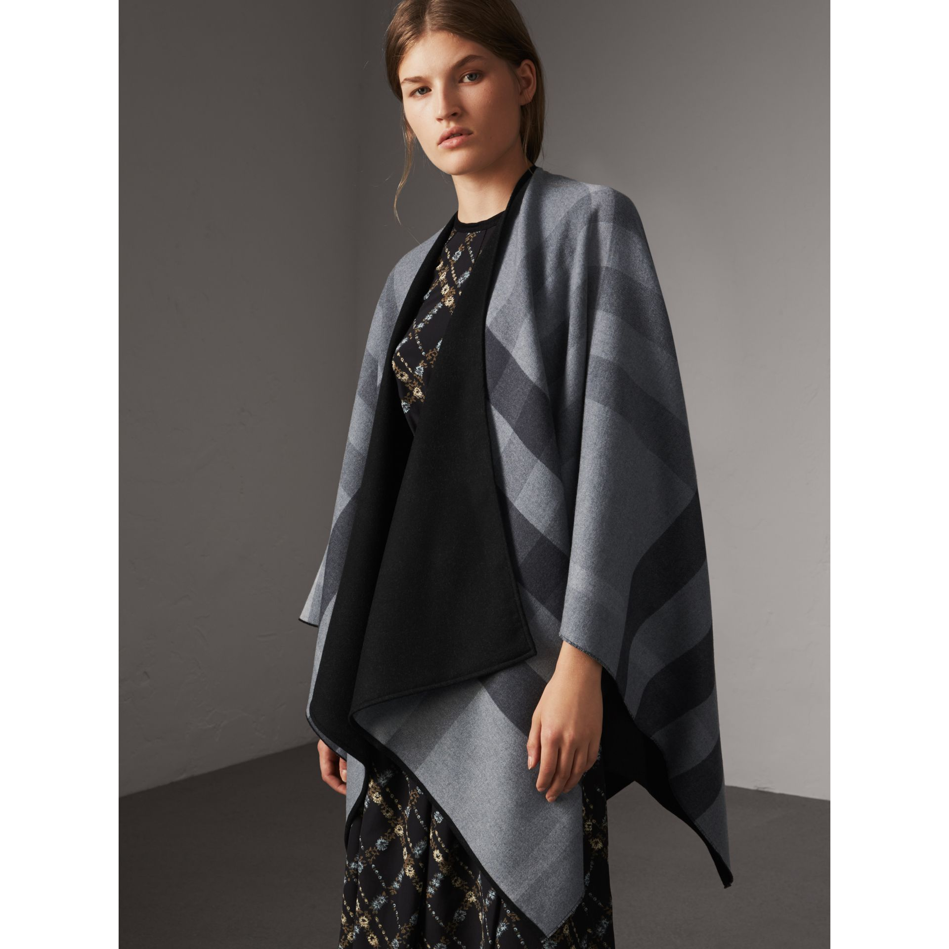 Reversible Check Merino Wool Poncho in Charcoal - Women | Burberry Canada - gallery image 5