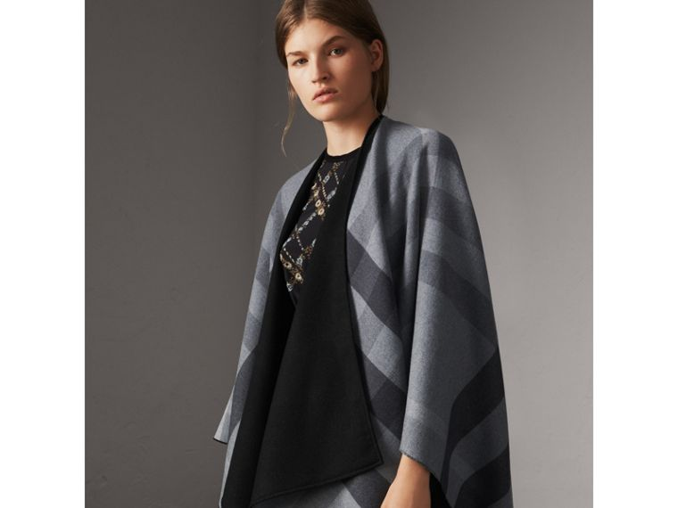 Reversible Check Merino Wool Poncho in Charcoal - Women | Burberry - cell image 4