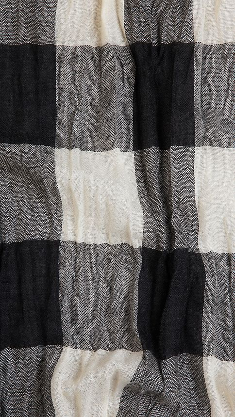 Ivory check Check Cashmere Crinkled Scarf Ivory - Image 3
