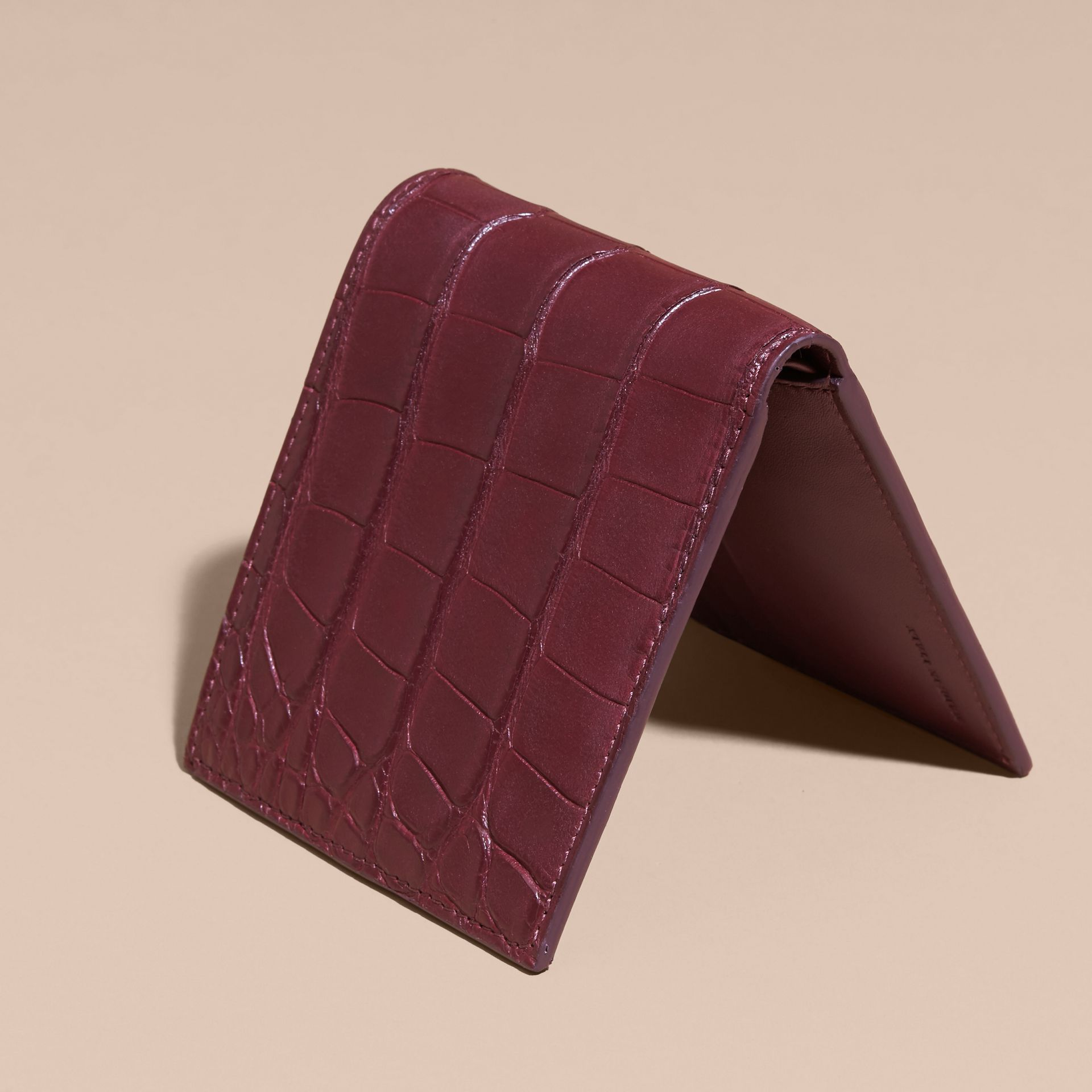 Deep claret Alligator and Leather Folding Wallet - gallery image 4