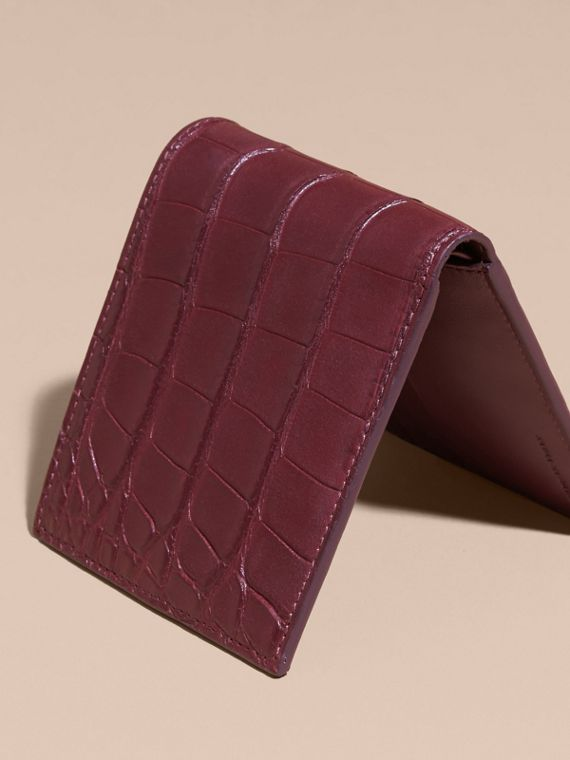 Deep claret Alligator and Leather Folding Wallet - cell image 3