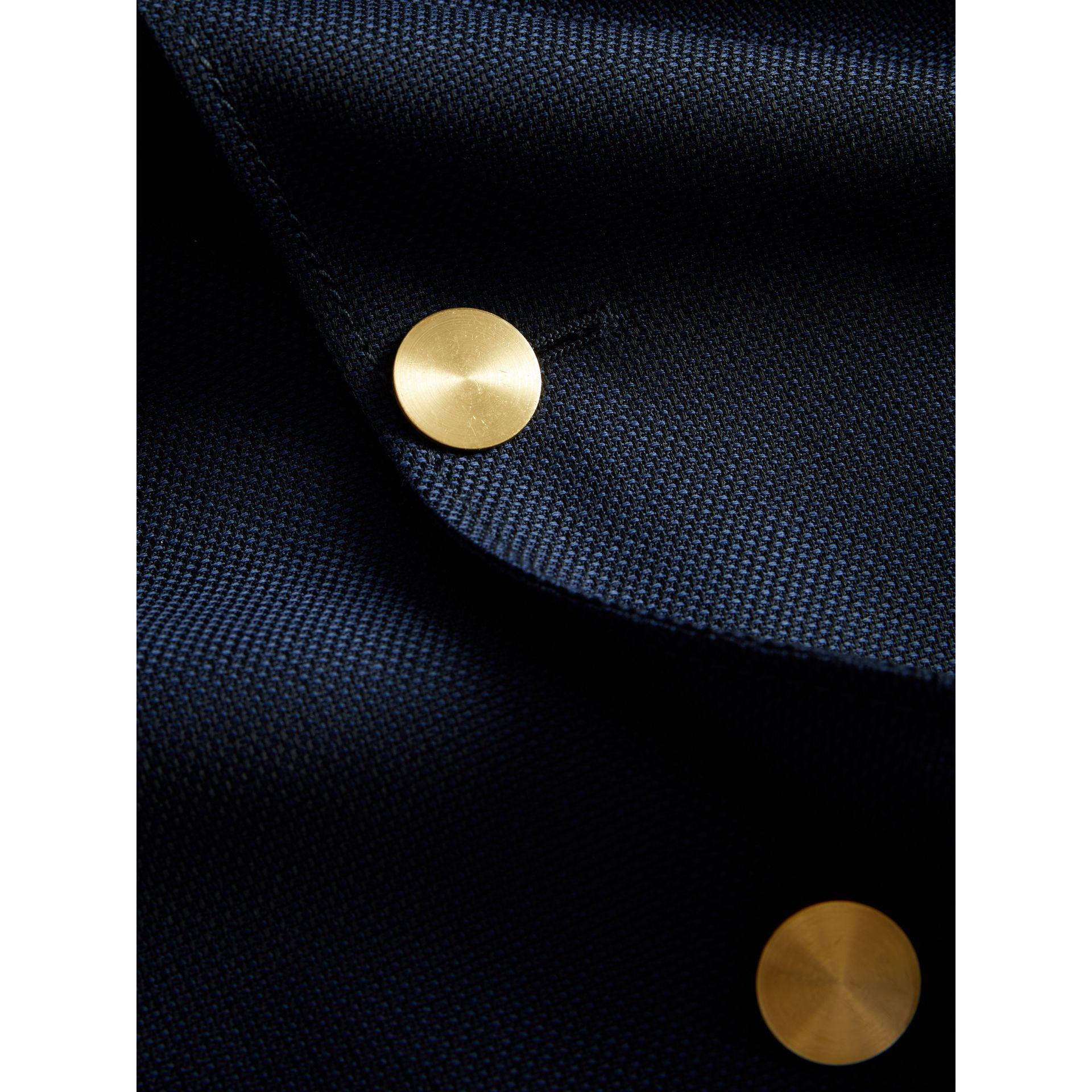 Slim Fit Wool Hopsack Tailored Jacket in Navy - Men | Burberry Australia - gallery image 2