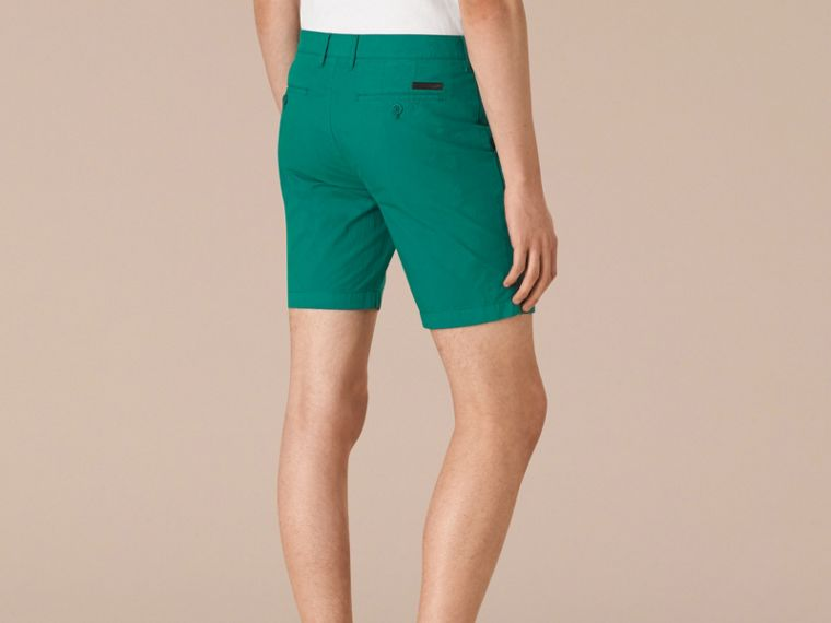 Deep viridian green Cotton Poplin Chino Shorts Deep Viridian Green - cell image 1