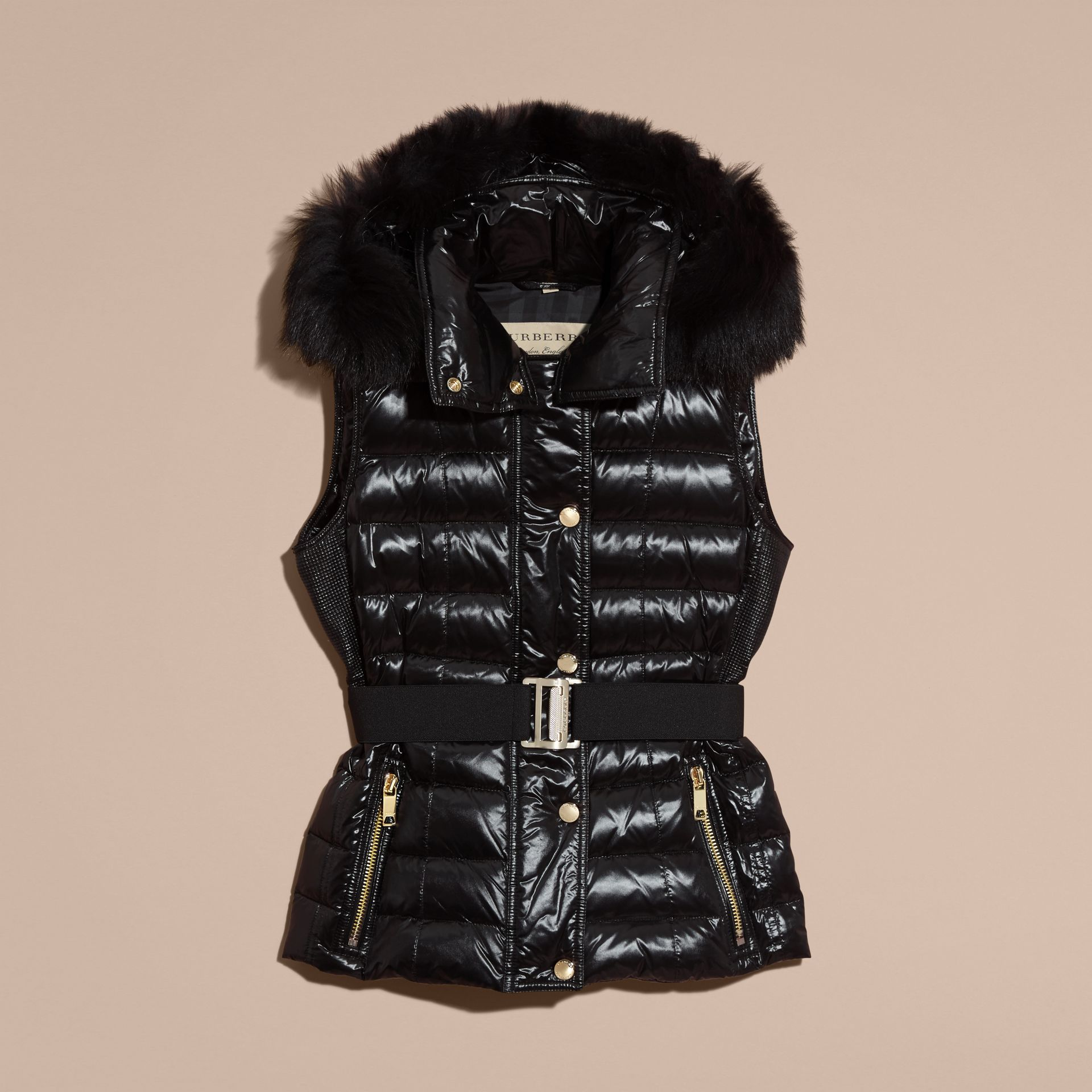 Black Down-filled Gilet with Detachable Fur-trimmed Hood - gallery image 4