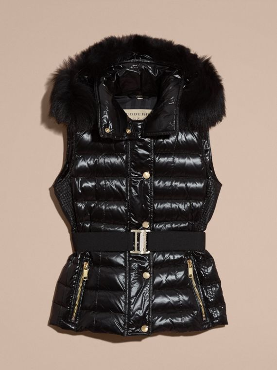 Black Down-filled Gilet with Detachable Fur-trimmed Hood - cell image 3