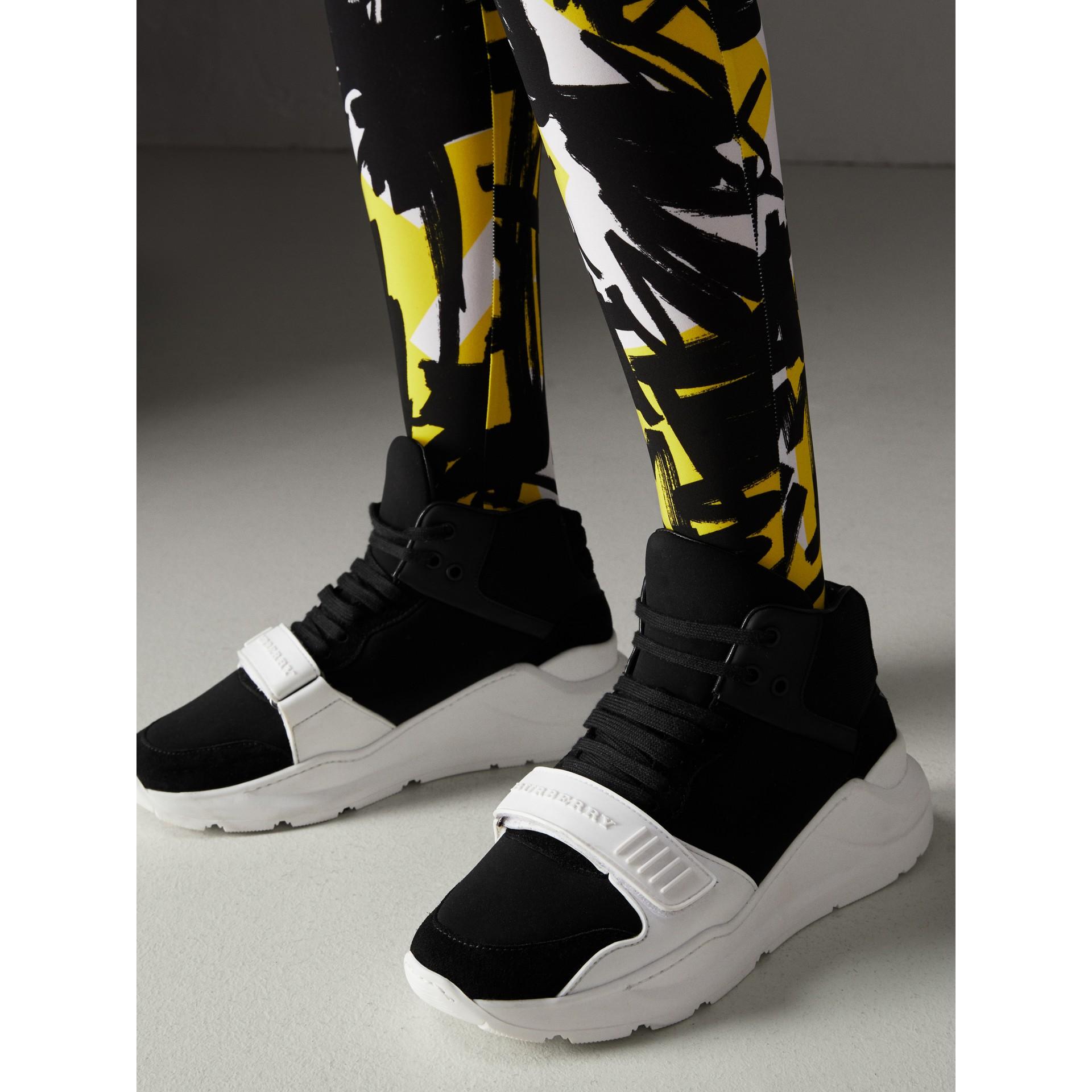 Suede and Neoprene High-top Sneakers in Black - Women | Burberry - gallery image 2