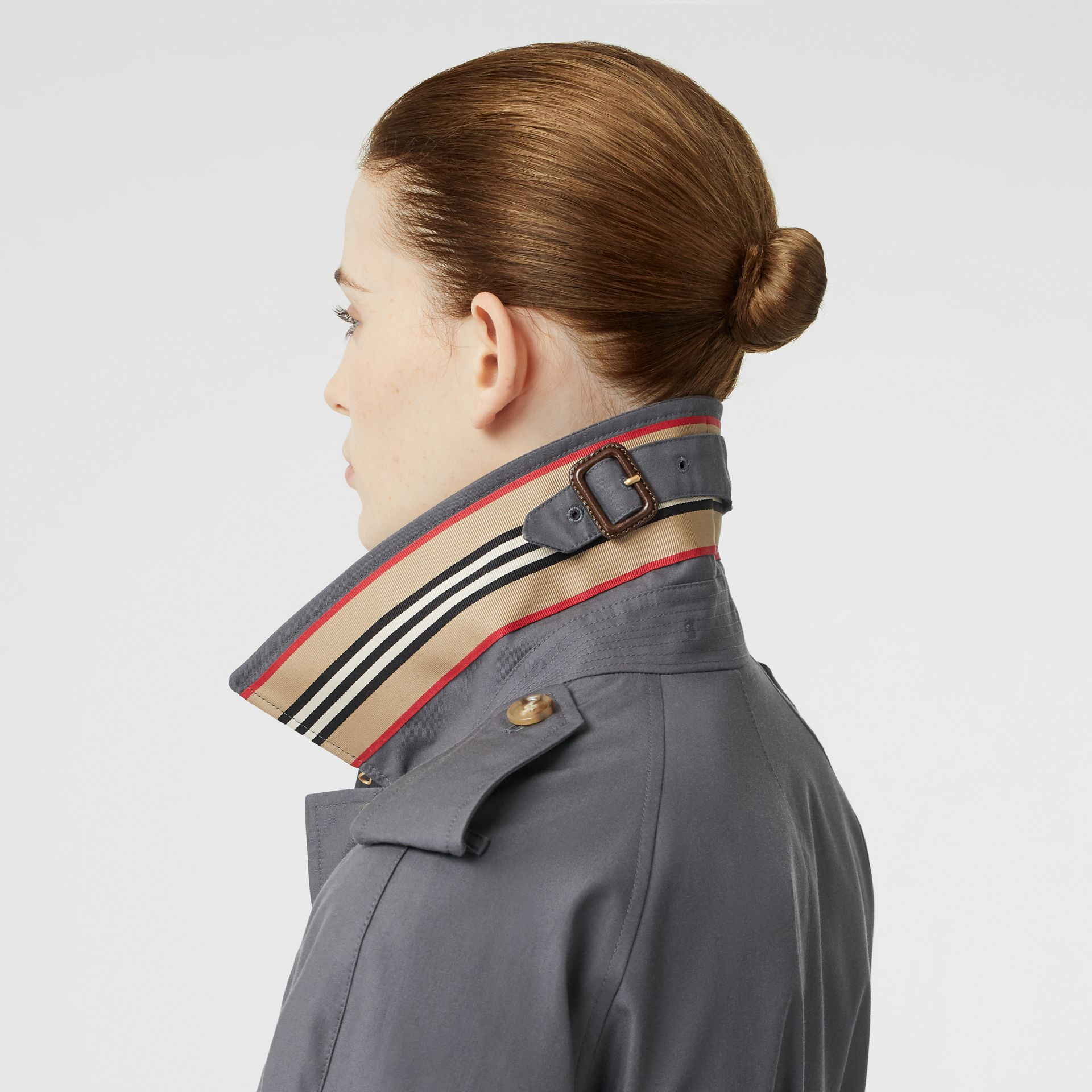 Cotton Gabardine Belted Car Coat in Mid Grey - Women | Burberry Canada - gallery image 4