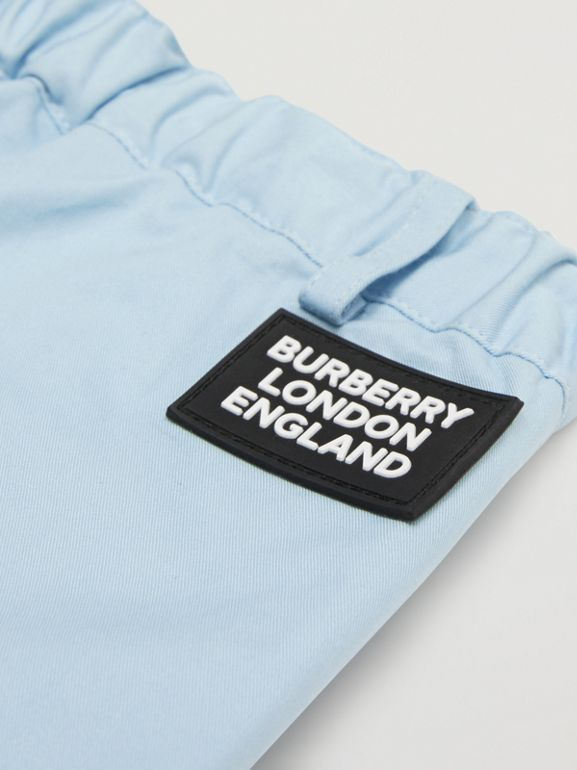 Logo Appliqué Cotton Twill Tailored Shorts in Pale Blue - Children | Burberry - cell image 1