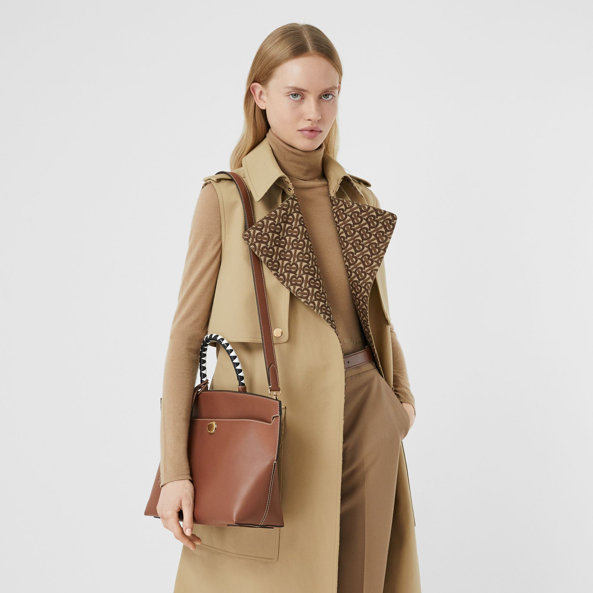 Small Leather Society Top Handle Bag in Tan - Women | Burberry - gallery image 8