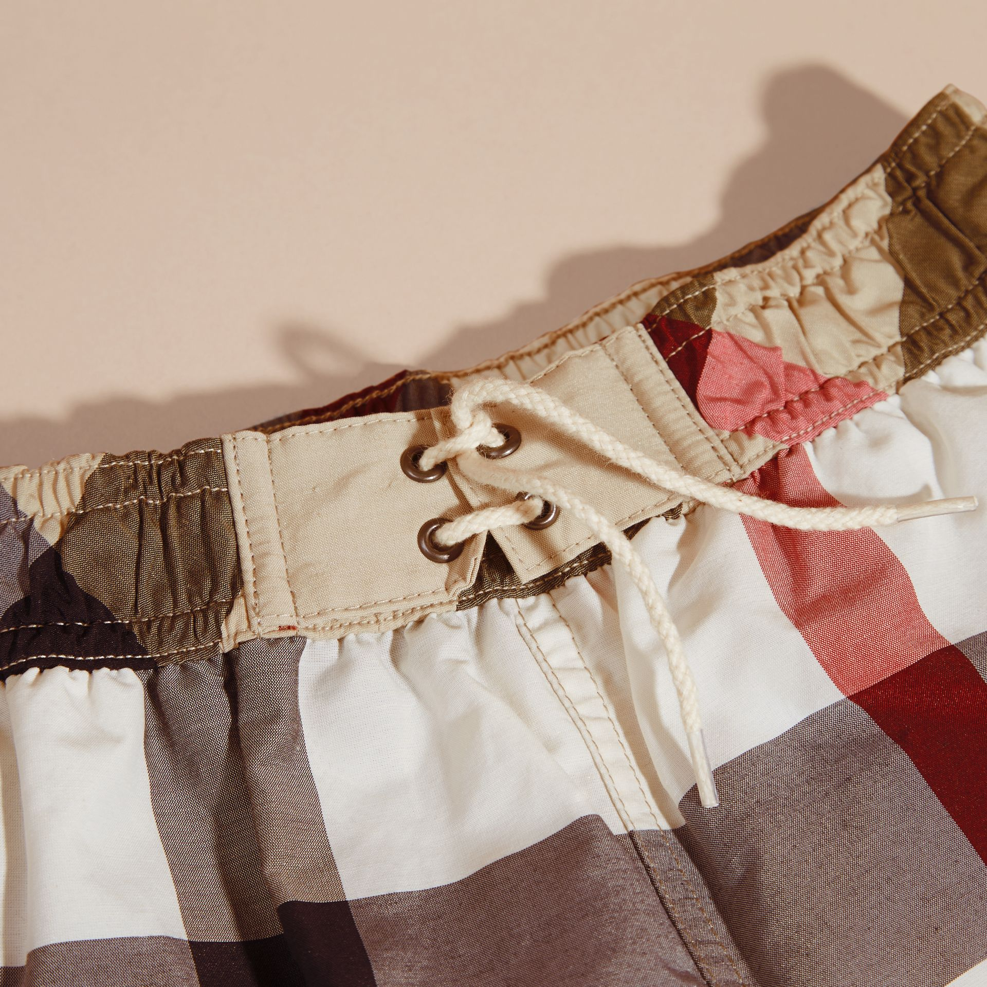 Check Technical Cotton Swim Shorts - Boy | Burberry Australia - gallery image 2