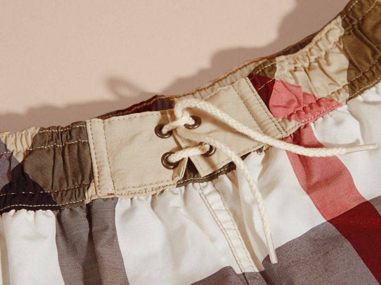 Check Technical Cotton Swim Shorts in New Classic - Boy | Burberry - cell image 1