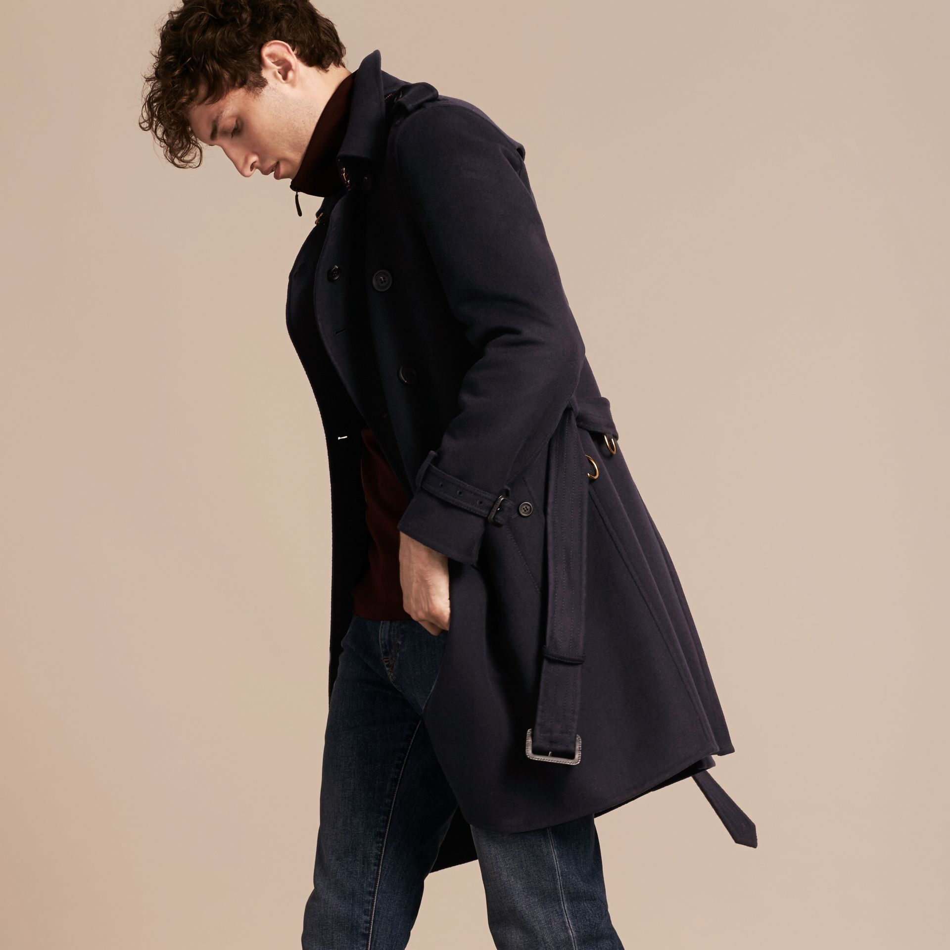 Navy Cashmere Wool Trench Coat - gallery image 7
