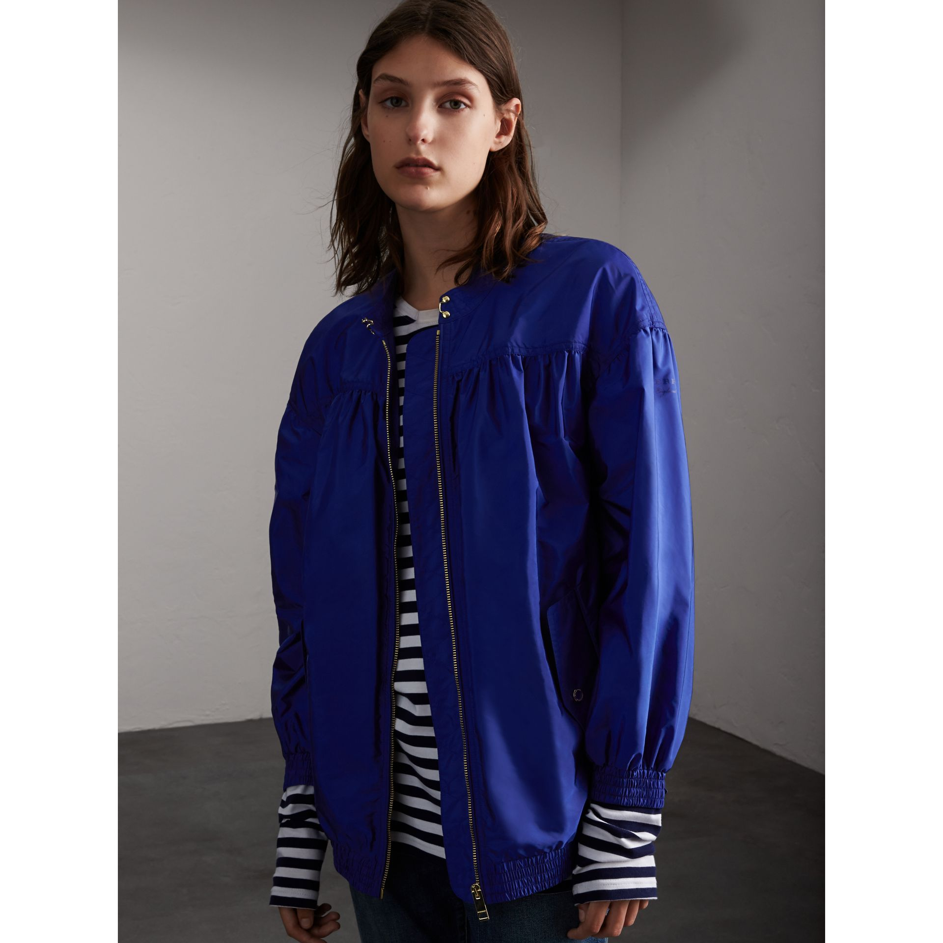 Ruched Showerproof Jacket in Sapphire Blue - Women | Burberry - gallery image 1